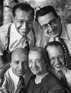 With his mother, Bahiyah, and brothers Salim, Malak, and Jamil, 1948