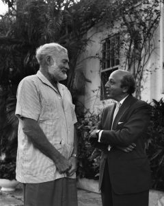 With Hemingway at home in Havana, 1957