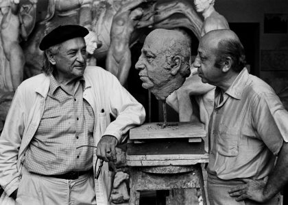 With sculptor Jacques Lipchitz, Tuscany, 1970