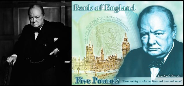 Winston Churchill by Yousuf Karsh on British Five Pound Note
