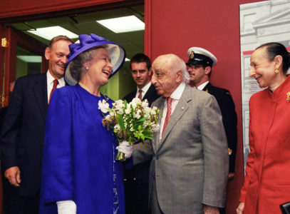 "Yousuf and Estrellita with Queen Elizabeth II and Jean Chrétien at the opening of Canada House in London, 1998. By <a href=""http://carissephoto.com"">Jean-Marc Carisse</a>"