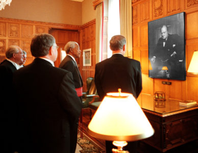 "Nelson Mandela and Prime Minister Jean Chrétien in the Canadian House of Commons in 1998, admiring Karsh's portrait of Churchill in the spot where it was taken. By <a href=""http://carissephoto.com"">Jean-Marc Carisse</a>"