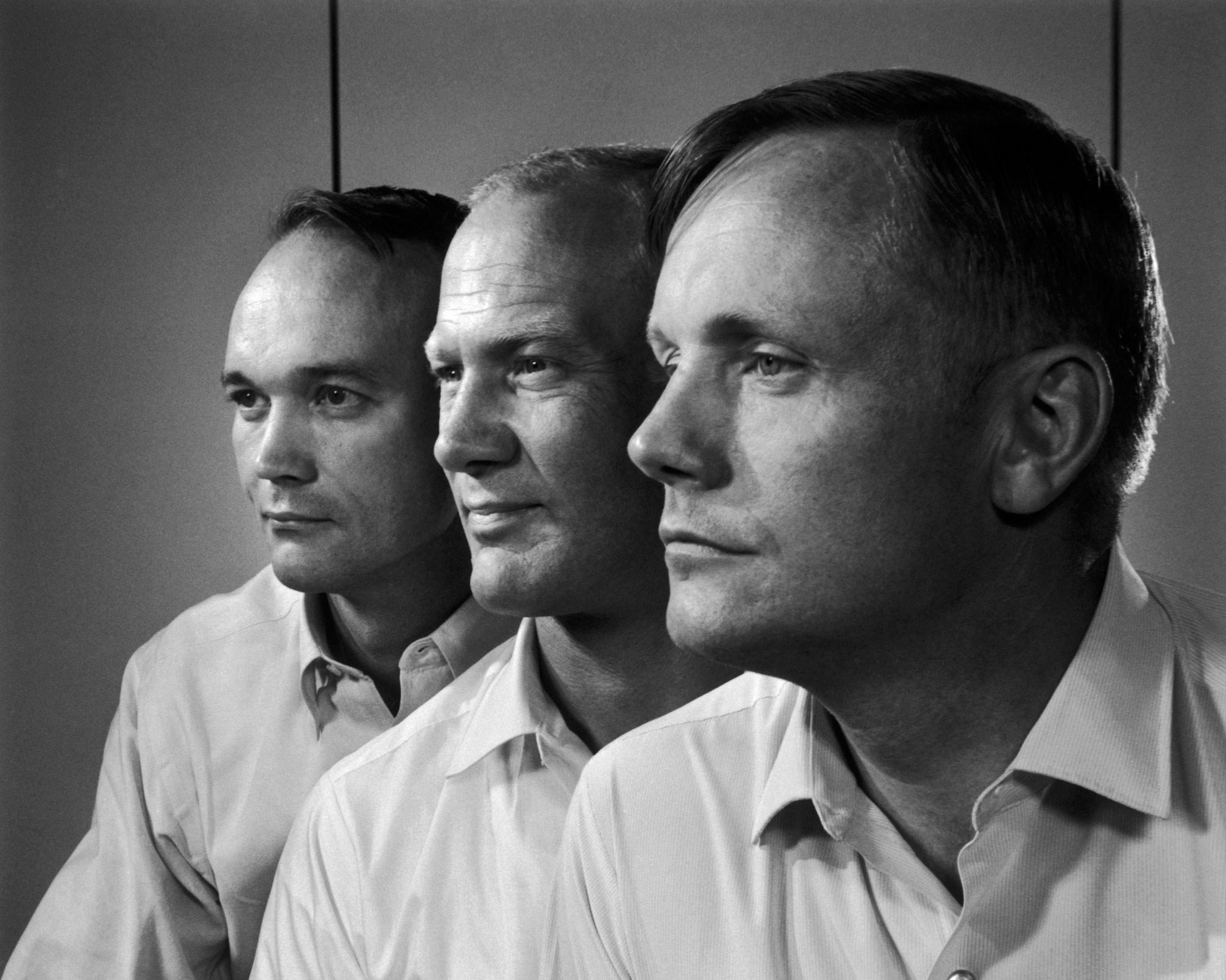 Apollo 11 crew, 1969. Michael Collins, Edwin 'Buzz' Aldrin, Neil Armstrong