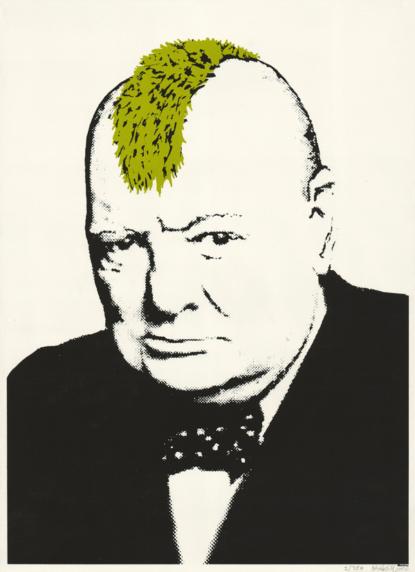 Turf War by Banksy, Winston Churchill by Yousuf Karsh